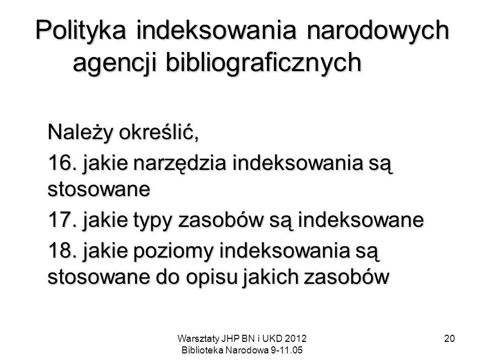 Warsztaty JHP BN i UKD 2012 Biblioteka Narodowa 9-11.05 20 Polityka indeksowania narodowych agencji bibliograficznych Należy określić, 16. jakie narzę