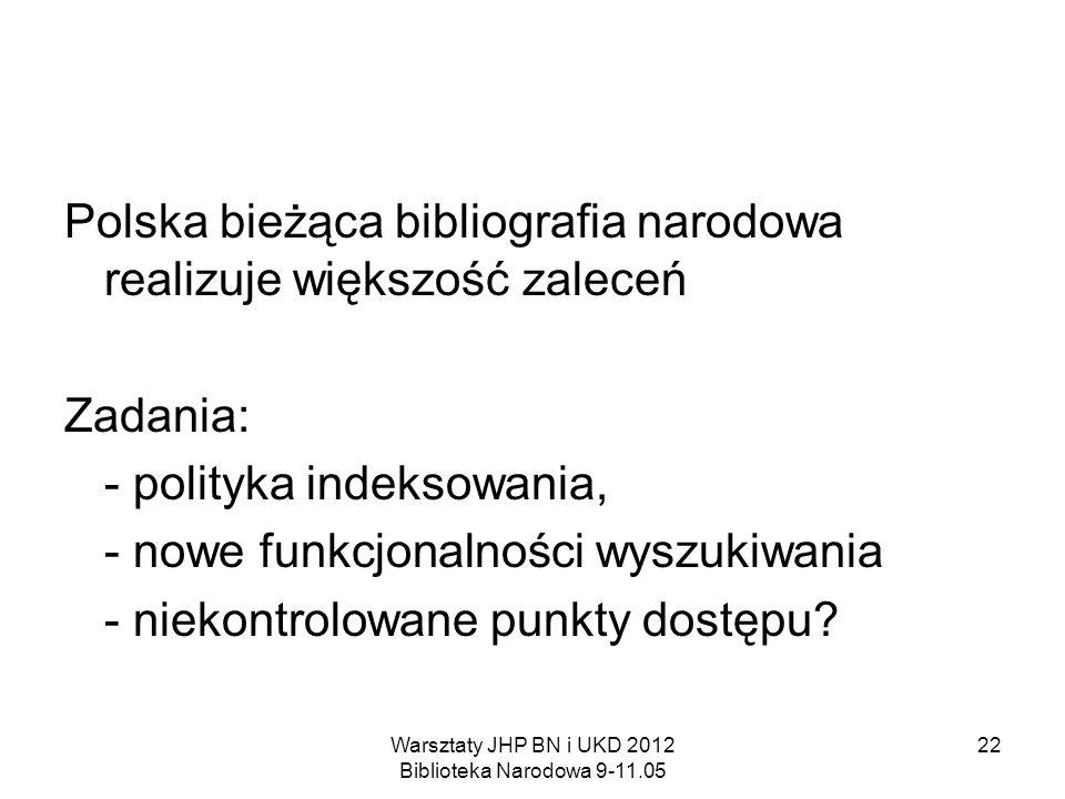 Warsztaty JHP BN i UKD 2012 Biblioteka Narodowa 9-11.05 22 Polska bieżąca bibliografia narodowa realizuje większość zaleceń Zadania: - polityka indeks