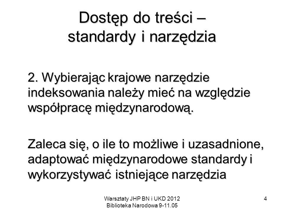 Warsztaty JHP BN i UKD 2012 Biblioteka Narodowa 9-11.05 4 Dostęp do treści – standardy i narzędzia 2. Wybierając krajowe narzędzie indeksowania należy