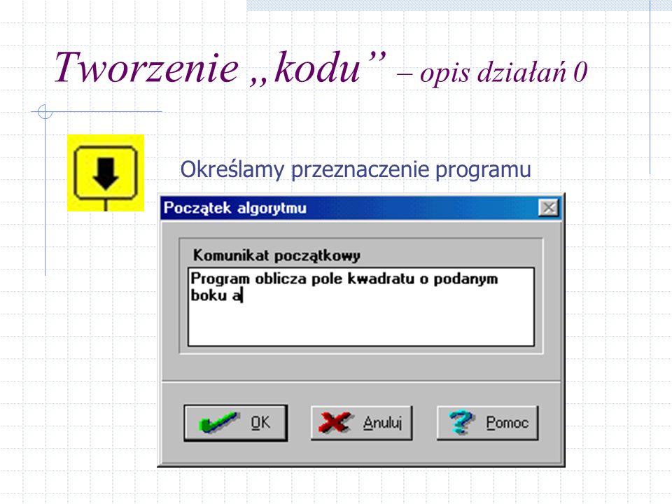 Tworzenie kodu – opis działań 1 Wprowadzanie danych