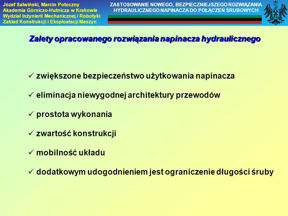 Józef Salwiński, Marcin Potoczny Akademia Górniczo-Hutnicza w Krakowie Wydział Inżynierii Mechanicznej i Robotyki Zakład Konstrukcji i Eksploatacji Ma
