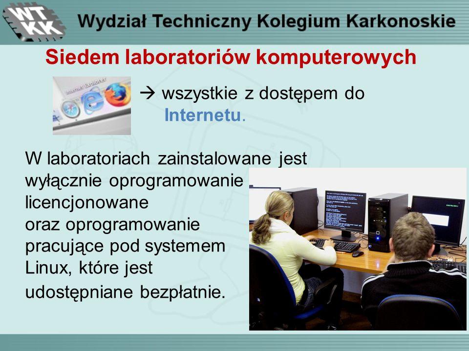 Siedem laboratoriów komputerowych wszystkie z dostępem do Internetu.