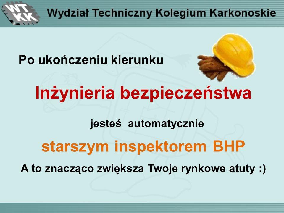 Po ukończeniu kierunku Inżynieria bezpieczeństwa jesteś automatycznie starszym inspektorem BHP A to znacząco zwiększa Twoje rynkowe atuty :)