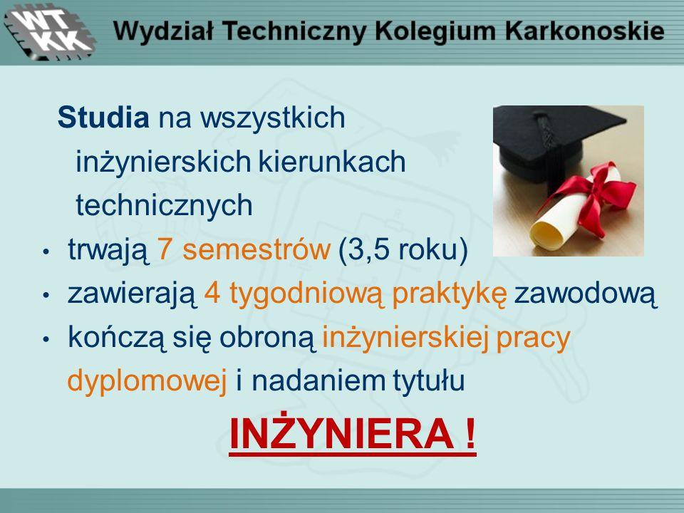 Studia na wszystkich inżynierskich kierunkach technicznych trwają 7 semestrów (3,5 roku) zawierają 4 tygodniową praktykę zawodową kończą się obroną inżynierskiej pracy dyplomowej i nadaniem tytułu INŻYNIERA !
