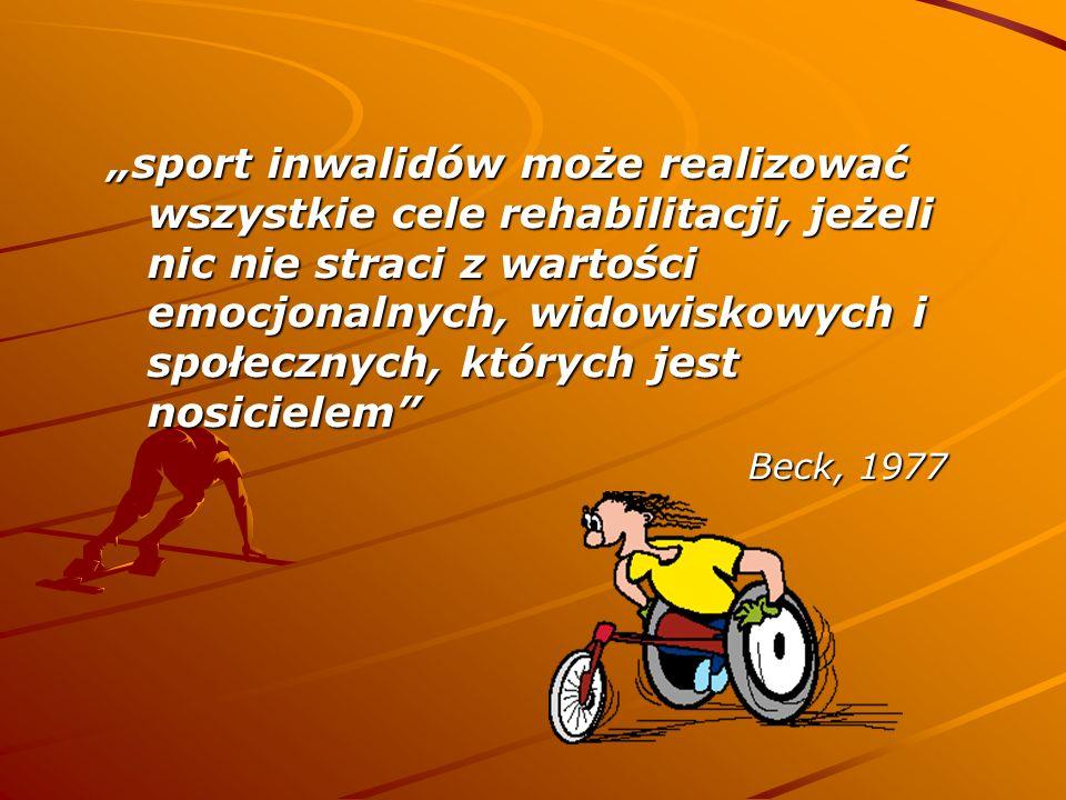 sport inwalidów może realizować wszystkie cele rehabilitacji, jeżeli nic nie straci z wartości emocjonalnych, widowiskowych i społecznych, których jes