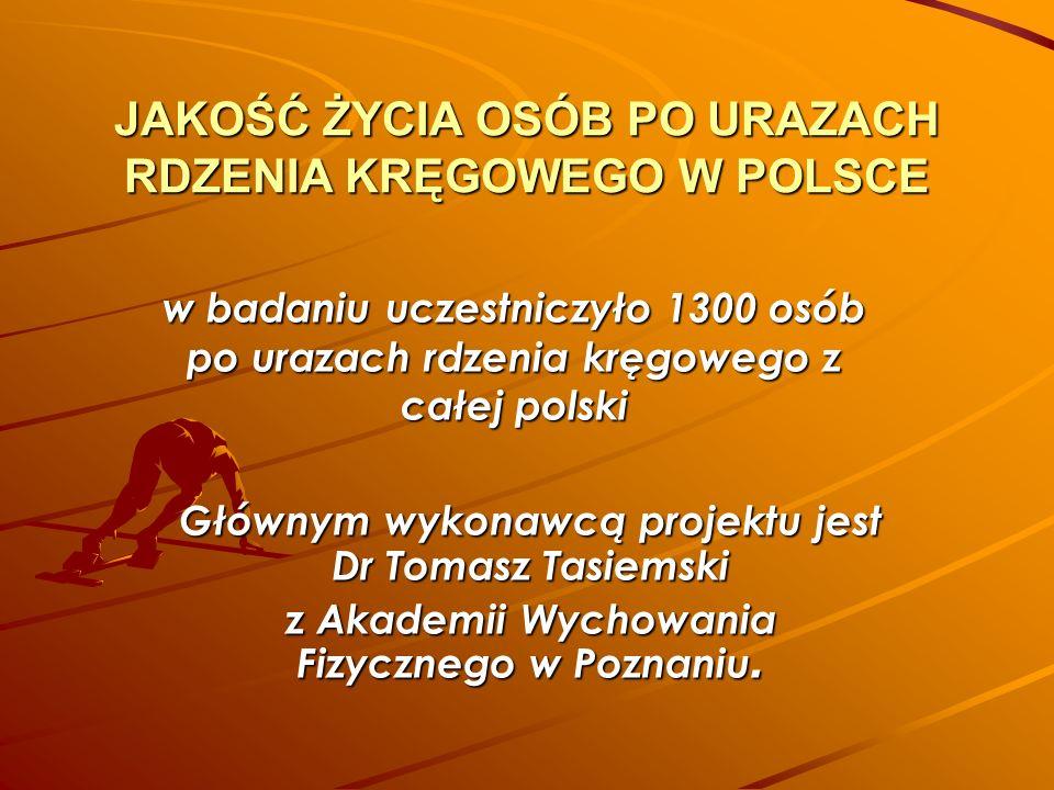 JAKOŚĆ ŻYCIA OSÓB PO URAZACH RDZENIA KRĘGOWEGO W POLSCE Głównym wykonawcą projektu jest Dr Tomasz Tasiemski z Akademii Wychowania Fizycznego w Poznani