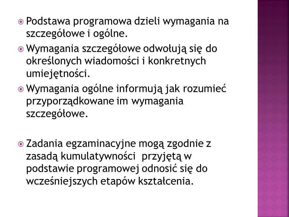 Poziom podstawowyPoziom rozszerzony Rozumienie ze słuchu Rozumienie tekstów pisanych Znajomość funkcji językowychZnajomość środków językowych Wypowiedź pisemna