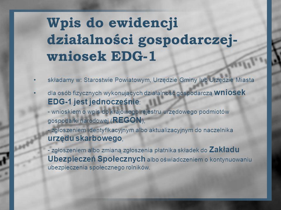Wniosek EDG-1 zawiera nazwę firmy - najlepiej pełną nazwę z wersją skróconą, np.