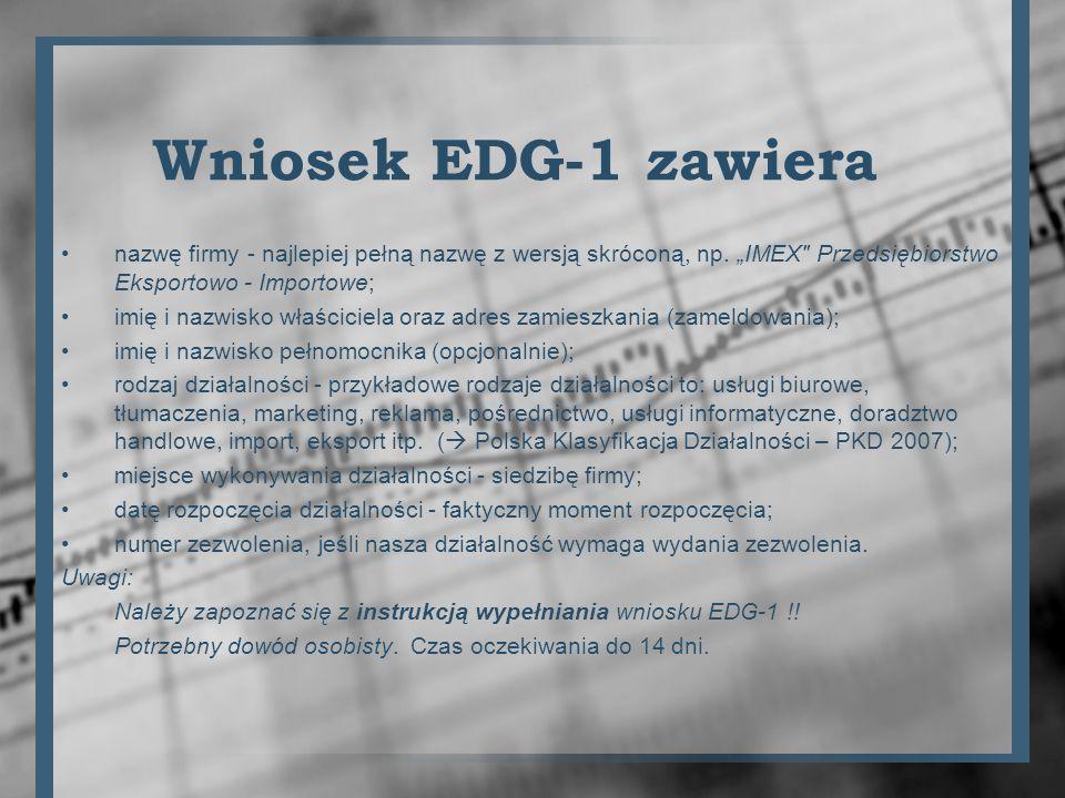 Załączniki do wniosku EDG-1 EDG-MW Dodatkowe miejsca wykonywania działalności gospodarczej, EDG-RD Wykonywana działalność gospodarcza, EDG-RB Informacja o rachunkach bankowych, EDG-POPR (formularz do dokonywania korekt w przypadku pomyłek);.
