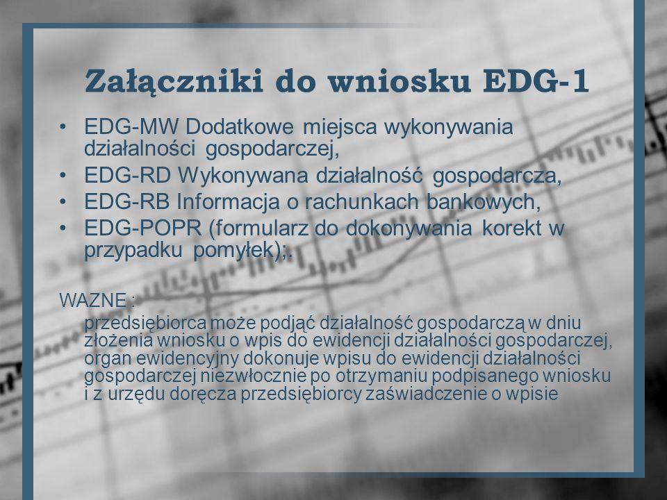 Załączniki do wniosku EDG-1 EDG-MW Dodatkowe miejsca wykonywania działalności gospodarczej, EDG-RD Wykonywana działalność gospodarcza, EDG-RB Informac