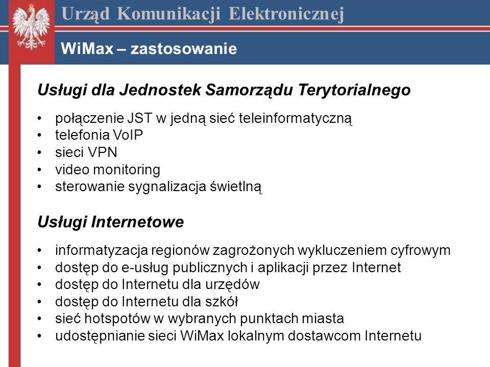 Urząd Komunikacji Elektronicznej WiMax – zastosowanie Usługi dla Jednostek Samorządu Terytorialnego połączenie JST w jedną sieć teleinformatyczną telefonia VoIP sieci VPN video monitoring sterowanie sygnalizacja świetlną Usługi Internetowe informatyzacja regionów zagrożonych wykluczeniem cyfrowym dostęp do e-usług publicznych i aplikacji przez Internet dostęp do Internetu dla urzędów dostęp do Internetu dla szkół sieć hotspotów w wybranych punktach miasta udostępnianie sieci WiMax lokalnym dostawcom Internetu