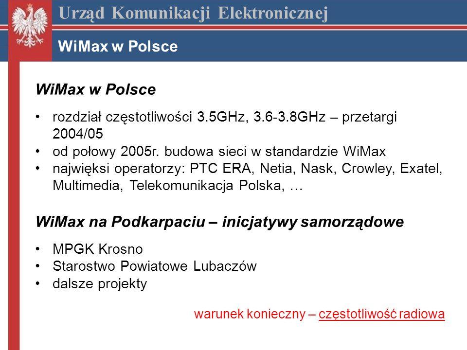 Urząd Komunikacji Elektronicznej WiMax w Polsce rozdział częstotliwości 3.5GHz, 3.6-3.8GHz – przetargi 2004/05 od połowy 2005r.