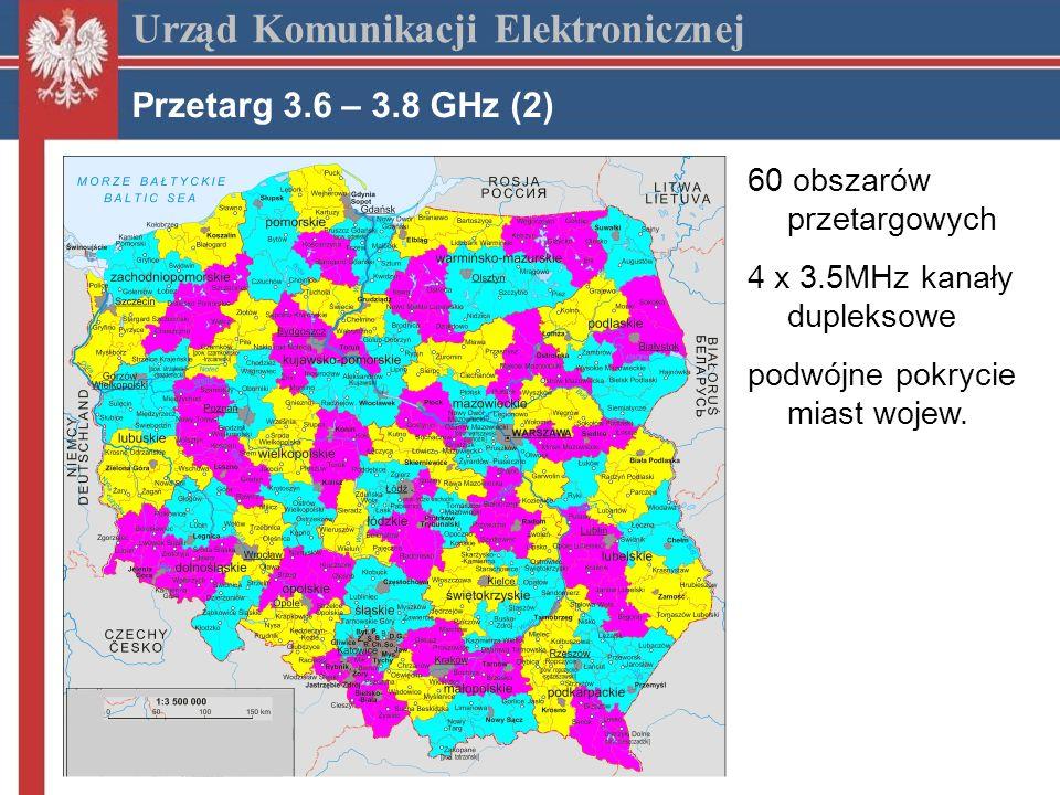 Urząd Komunikacji Elektronicznej Przetarg 3.6 – 3.8 GHz (2) 60 obszarów przetargowych 4 x 3.5MHz kanały dupleksowe podwójne pokrycie miast wojew.