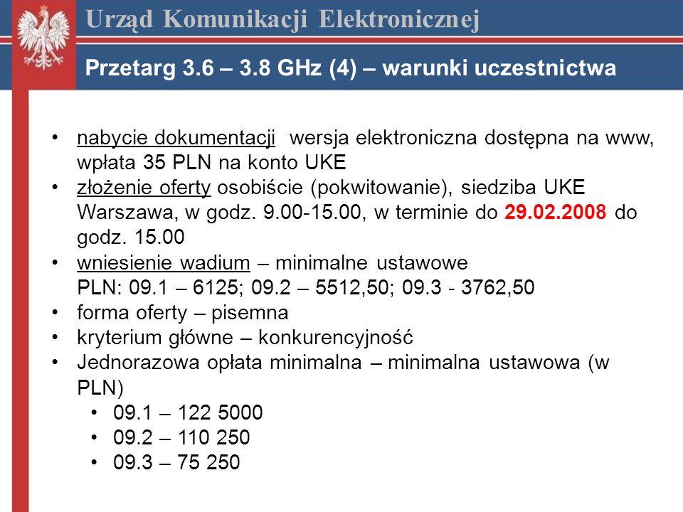 nabycie dokumentacji wersja elektroniczna dostępna na www, wpłata 35 PLN na konto UKE złożenie oferty osobiście (pokwitowanie), siedziba UKE Warszawa, w godz.