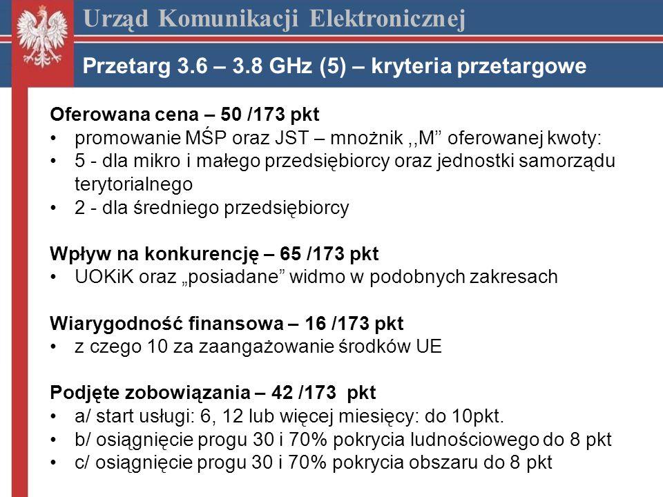 Oferowana cena – 50 /173 pkt promowanie MŚP oraz JST – mnożnik,,M oferowanej kwoty: 5 - dla mikro i małego przedsiębiorcy oraz jednostki samorządu terytorialnego 2 - dla średniego przedsiębiorcy Wpływ na konkurencję – 65 /173 pkt UOKiK oraz posiadane widmo w podobnych zakresach Wiarygodność finansowa – 16 /173 pkt z czego 10 za zaangażowanie środków UE Podjęte zobowiązania – 42 /173 pkt a/ start usługi: 6, 12 lub więcej miesięcy: do 10pkt.
