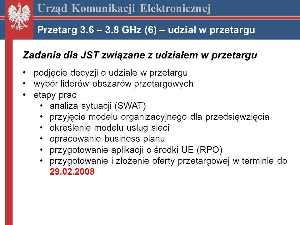 Zadania dla JST związane z udziałem w przetargu podjęcie decyzji o udziale w przetargu wybór liderów obszarów przetargowych etapy prac analiza sytuacji (SWAT) przyjęcie modelu organizacyjnego dla przedsięwzięcia określenie modelu usług sieci opracowanie business planu przygotowanie aplikacji o środki UE (RPO) przygotowanie i złożenie oferty przetargowej w terminie do 29.02.2008 Urząd Komunikacji Elektronicznej Przetarg 3.6 – 3.8 GHz (6) – udział w przetargu