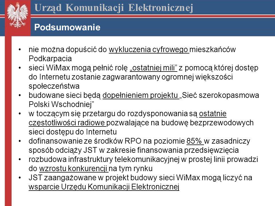 nie można dopuścić do wykluczenia cyfrowego mieszkańców Podkarpacia sieci WiMax mogą pełnić rolę ostatniej mili z pomocą której dostęp do Internetu zostanie zagwarantowany ogromnej większości społeczeństwa budowane sieci będą dopełnieniem projektu Sieć szerokopasmowa Polski Wschodniej w toczącym się przetargu do rozdysponowania są ostatnie częstotliwości radiowe pozwalające na budowę bezprzewodowych sieci dostępu do Internetu dofinansowanie ze środków RPO na poziomie 85% w zasadniczy sposób odciąży JST w zakresie finansowania przedsięwzięcia rozbudowa infrastruktury telekomunikacyjnej w prostej linii prowadzi do wzrostu konkurencji na tym rynku JST zaangażowane w projekt budowy sieci WiMax mogą liczyć na wsparcie Urzędu Komunikacji Elektronicznej Urząd Komunikacji Elektronicznej Podsumowanie