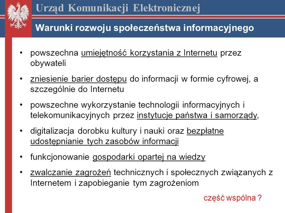 Internet szerokopasmowy w Polsce (1) Urząd Komunikacji Elektronicznej Penetracja w krajach UE koniec 2006 r.