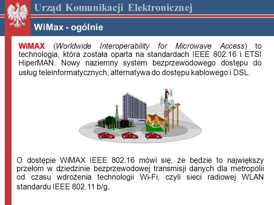 Urząd Komunikacji Elektronicznej WiMax - zalety Zalety sieci WiMax duży zasięg pojedynczej stacji bazowej do 30 km duża skalowalność i możliwości późniejszej rozbudowy, duża szybkość transmisji jednego terminala możliwość tworzenia grup odbiorców (np.