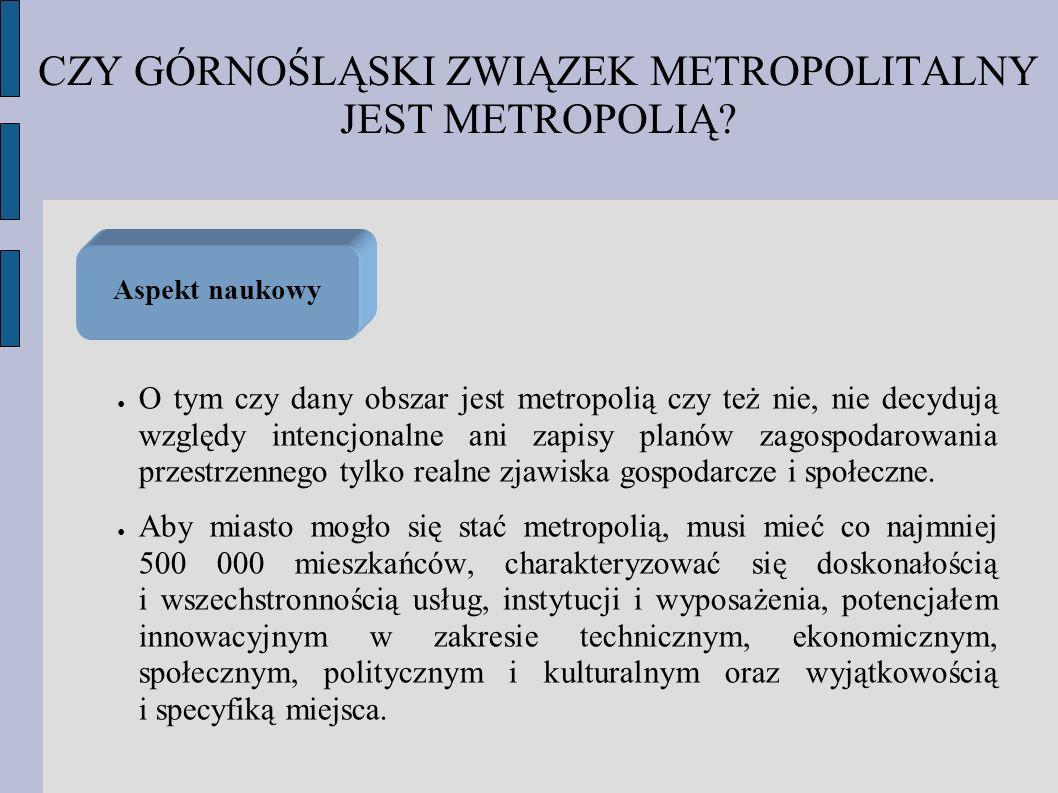 CZY GÓRNOŚLĄSKI ZWIĄZEK METROPOLITALNY JEST METROPOLIĄ? O tym czy dany obszar jest metropolią czy też nie, nie decydują względy intencjonalne ani zapi