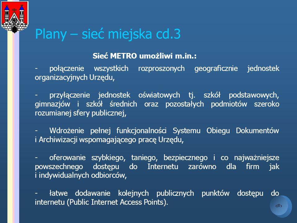11 Plany – sieć miejska cd.3 Sieć METRO umożliwi m.in.: -połączenie wszystkich rozproszonych geograficznie jednostek organizacyjnych Urzędu, -przyłącz