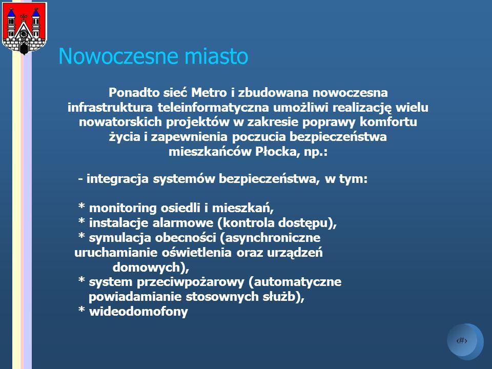 12 Nowoczesne miasto Ponadto sieć Metro i zbudowana nowoczesna infrastruktura teleinformatyczna umożliwi realizację wielu nowatorskich projektów w zak