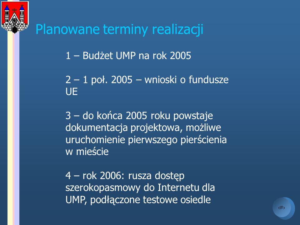 18 1 – Budżet UMP na rok 2005 2 – 1 poł. 2005 – wnioski o fundusze UE 3 – do końca 2005 roku powstaje dokumentacja projektowa, możliwe uruchomienie pi
