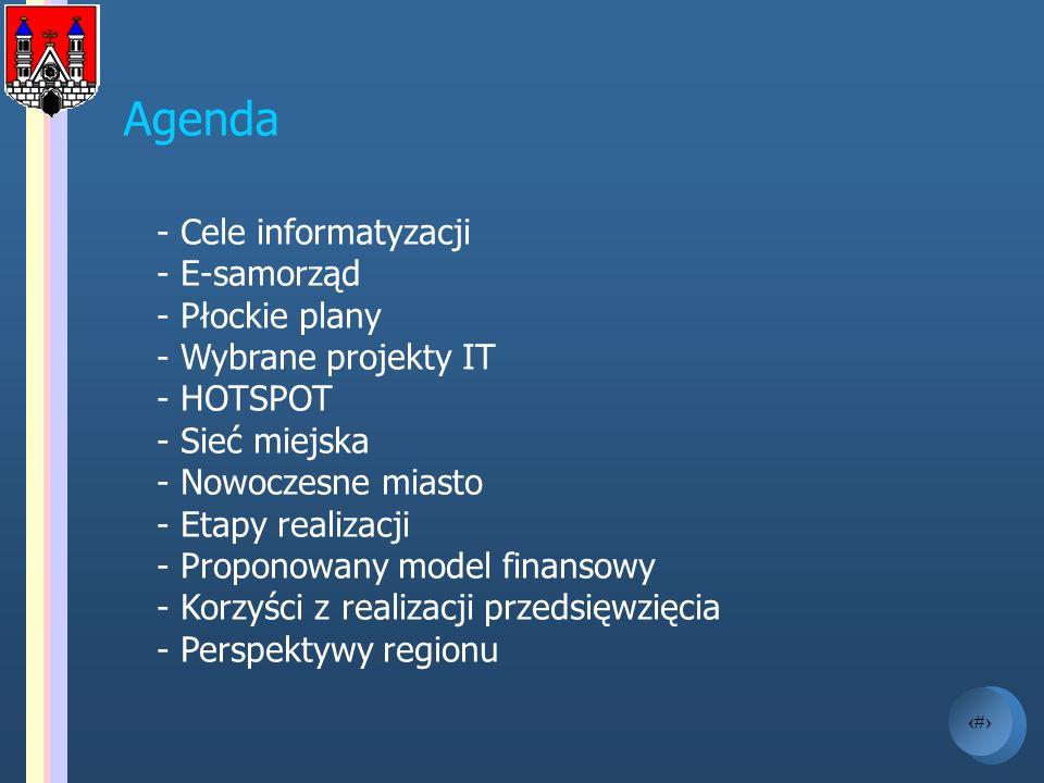 2 Agenda - Cele informatyzacji - E-samorząd - Płockie plany - Wybrane projekty IT - HOTSPOT - Sieć miejska - Nowoczesne miasto - Etapy realizacji - Pr