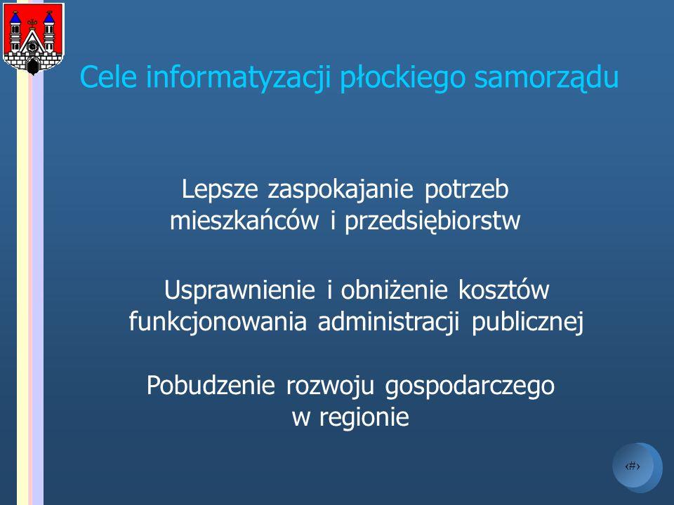 3 Cele informatyzacji płockiego samorządu Lepsze zaspokajanie potrzeb mieszkańców i przedsiębiorstw Usprawnienie i obniżenie kosztów funkcjonowania ad