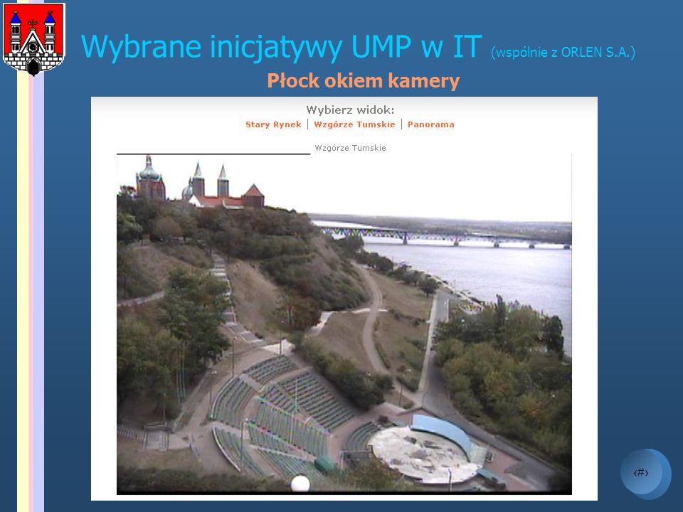 7 Wybrane inicjatywy UMP w IT (cd.) HOT SPOT W czerwcu 2004 UMP wraz z PKN ORLEN SA uruchomili bezpłatny bezprzewodowy dostęp do internetu na jednej z większych atrakcji turystycznych Płocka – Starym Rynku (wymagania: komputer wyposażony w kartę sieciową - zgodną ze standardem 802.11b)