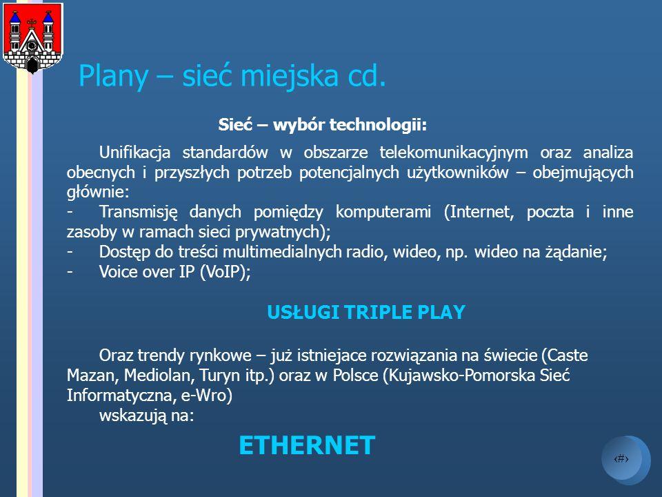 9 Plany – sieć miejska cd. Sieć – wybór technologii: Unifikacja standardów w obszarze telekomunikacyjnym oraz analiza obecnych i przyszłych potrzeb po