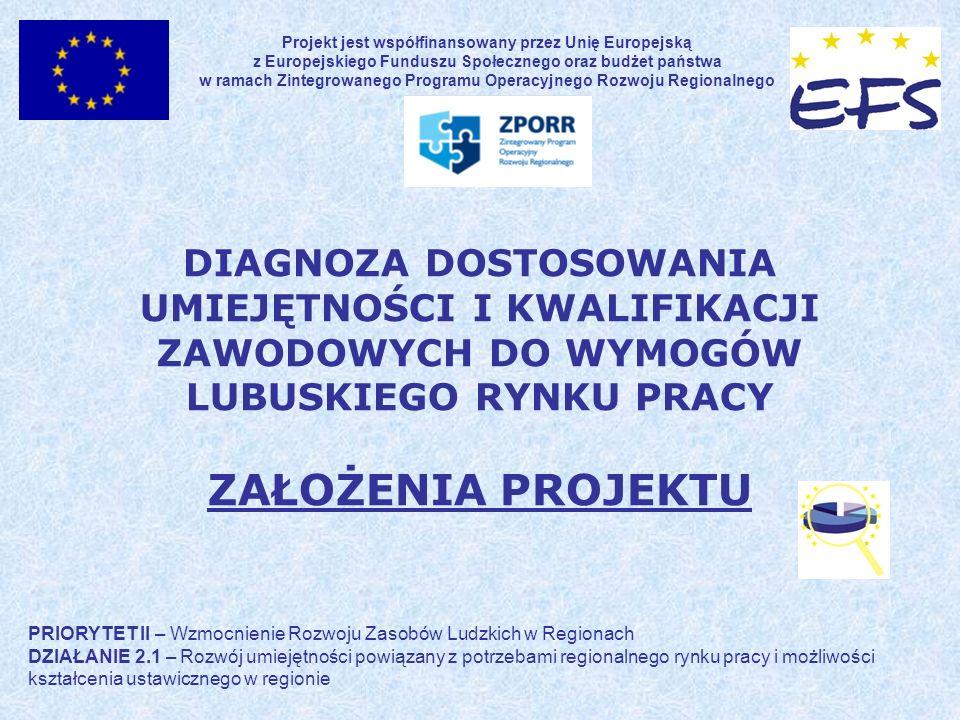 DIAGNOZA DOSTOSOWANIA UMIEJĘTNOŚCI I KWALIFIKACJI ZAWODOWYCH DO WYMOGÓW LUBUSKIEGO RYNKU PRACY ZAŁOŻENIA PROJEKTU Projekt jest współfinansowany przez Unię Europejską z Europejskiego Funduszu Społecznego oraz budżet państwa w ramach Zintegrowanego Programu Operacyjnego Rozwoju Regionalnego PRIORYTET II – Wzmocnienie Rozwoju Zasobów Ludzkich w Regionach DZIAŁANIE 2.1 – Rozwój umiejętności powiązany z potrzebami regionalnego rynku pracy i możliwości kształcenia ustawicznego w regionie