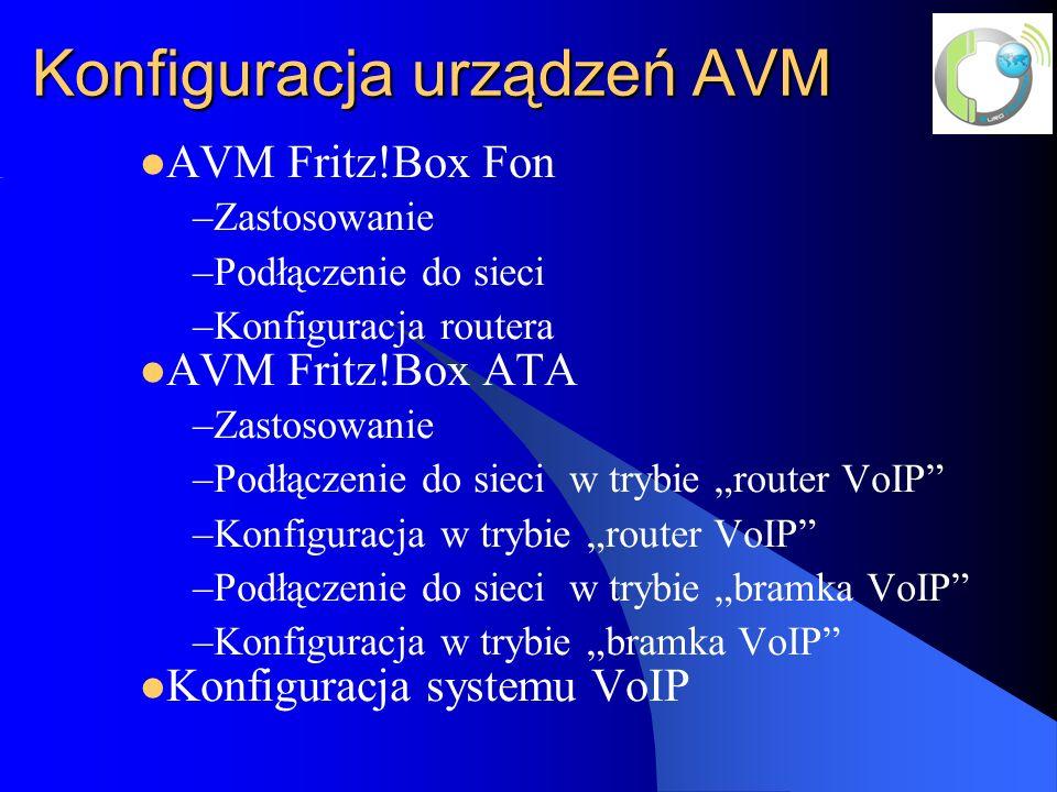 Konfiguracja urządzeń AVM AVM Fritz!Box Fon –Zastosowanie –Podłączenie do sieci –Konfiguracja routera AVM Fritz!Box ATA –Zastosowanie –Podłączenie do