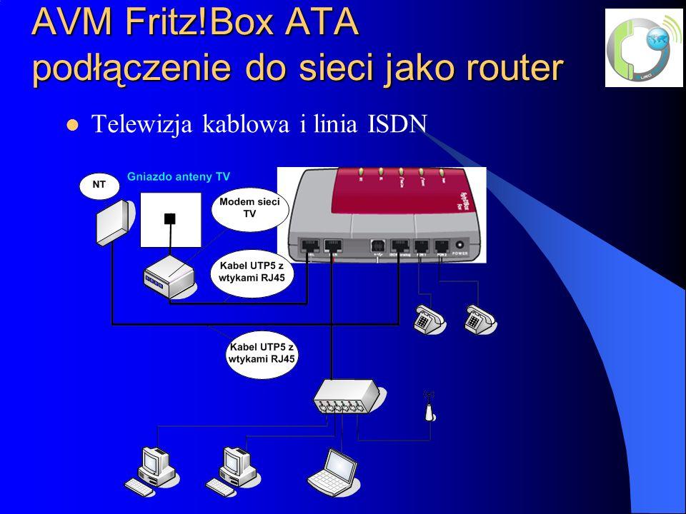 AVM Fritz!Box ATA podłączenie do sieci jako router Telewizja kablowa i linia ISDN