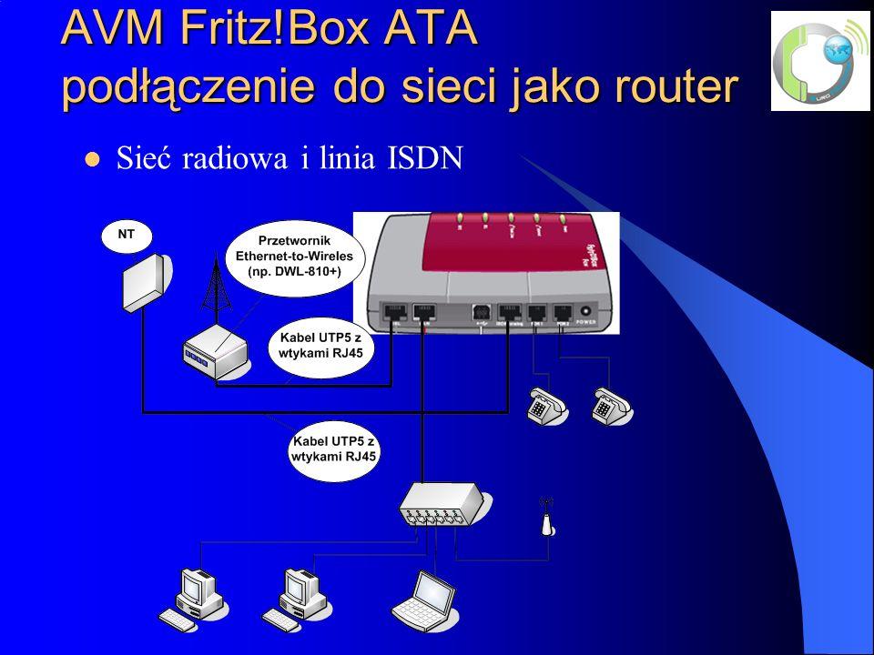 AVM Fritz!Box ATA podłączenie do sieci jako router Sieć radiowa i linia ISDN
