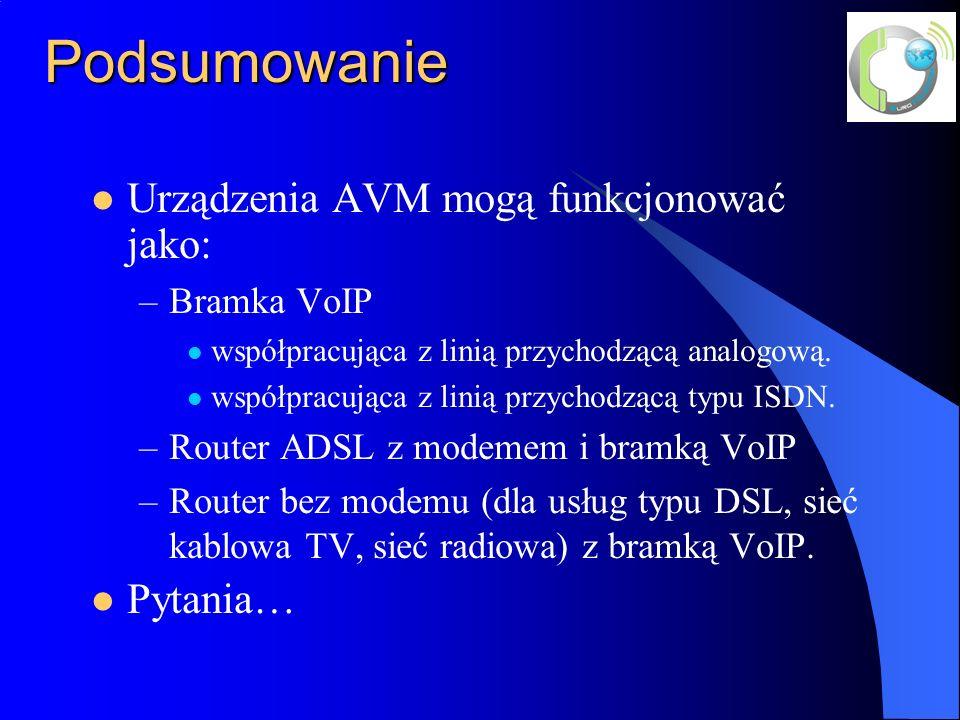 Podsumowanie Urządzenia AVM mogą funkcjonować jako: –Bramka VoIP współpracująca z linią przychodzącą analogową. współpracująca z linią przychodzącą ty
