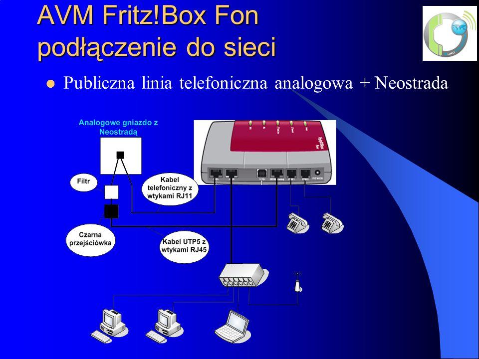 AVM Fritz!Box Fon podłączenie do sieci Publiczna linia telefoniczna analogowa + Neostrada