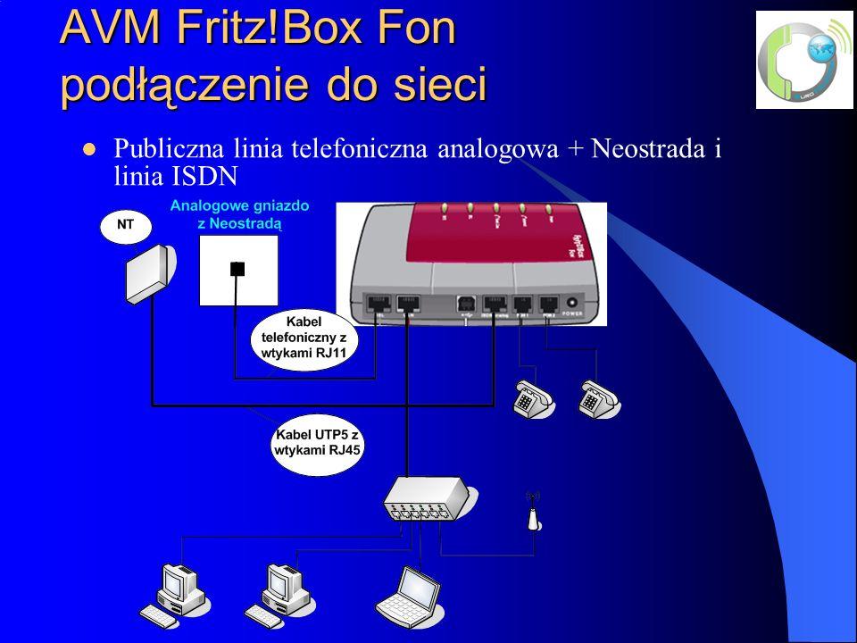 AVM Fritz!Box Fon podłączenie do sieci Publiczna linia telefoniczna analogowa + Neostrada i linia ISDN