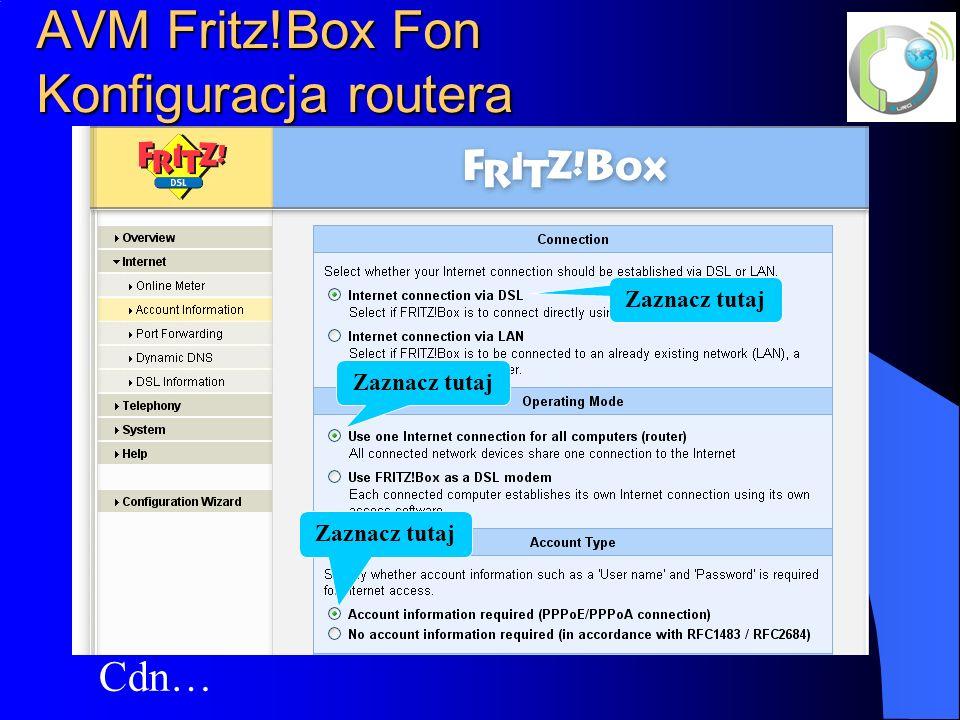 AVM Fritz!Box Fon Konfiguracja routera Cdn… Zaznacz tutaj
