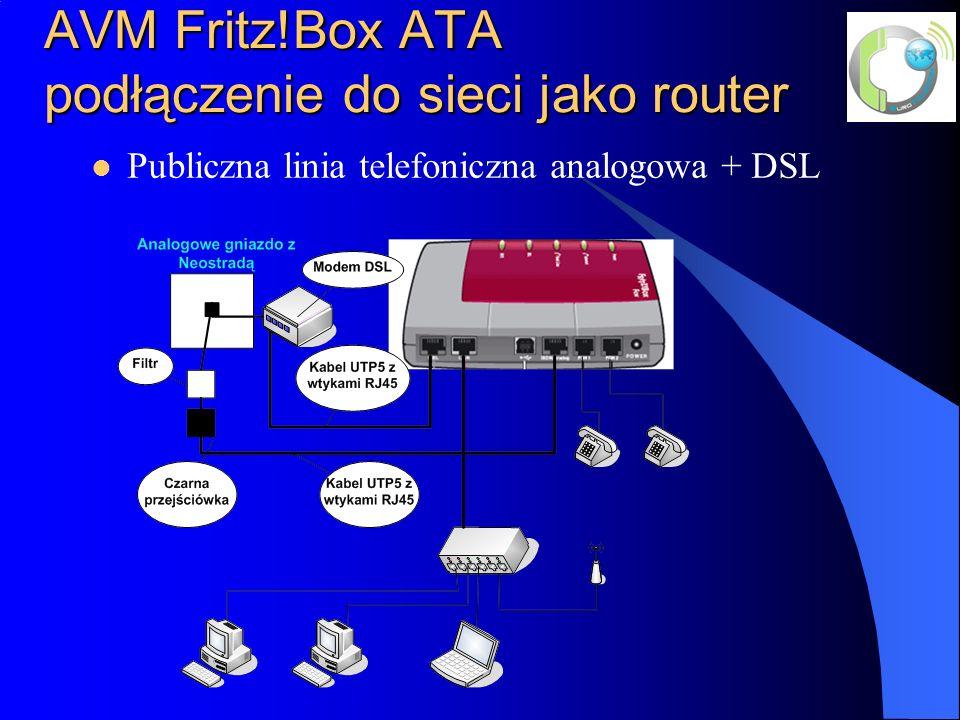 AVM Fritz!Box ATA podłączenie do sieci jako router Publiczna linia telefoniczna analogowa + DSL