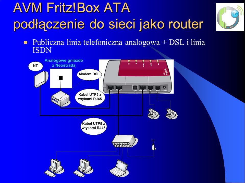 AVM Fritz!Box ATA podłączenie do sieci jako router Publiczna linia telefoniczna analogowa + DSL i linia ISDN
