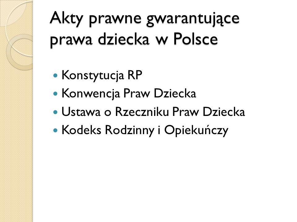 Akty prawne gwarantujące prawa dziecka w Polsce Konstytucja RP Konwencja Praw Dziecka Ustawa o Rzeczniku Praw Dziecka Kodeks Rodzinny i Opiekuńczy