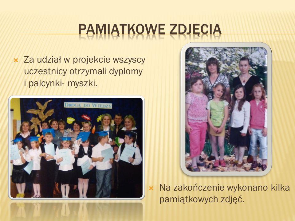 Za udział w projekcie wszyscy uczestnicy otrzymali dyplomy i palcynki- myszki. Na zakończenie wykonano kilka pamiątkowych zdjęć.