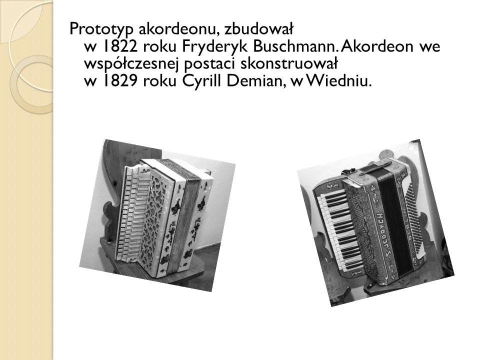 Prototyp akordeonu, zbudował w 1822 roku Fryderyk Buschmann. Akordeon we współczesnej postaci skonstruował w 1829 roku Cyrill Demian, w Wiedniu.