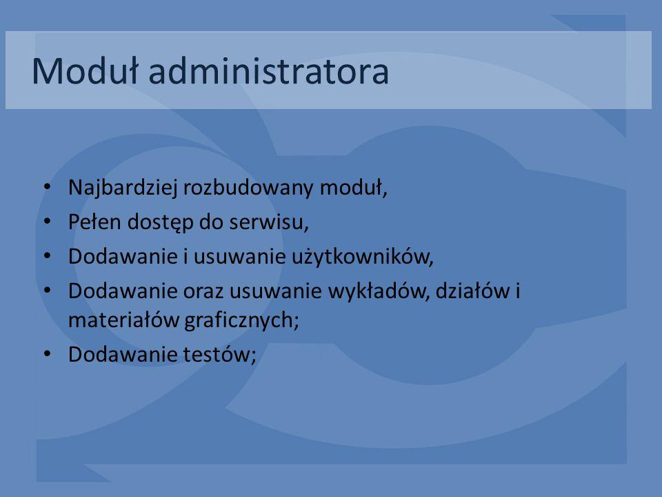 Moduł administratora Najbardziej rozbudowany moduł, Pełen dostęp do serwisu, Dodawanie i usuwanie użytkowników, Dodawanie oraz usuwanie wykładów, dzia