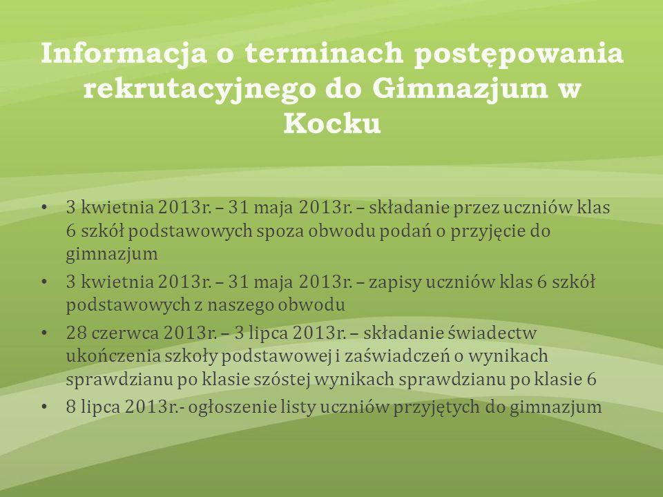 Informacja o terminach postępowania rekrutacyjnego do Gimnazjum w Kocku 3 kwietnia 2013r.