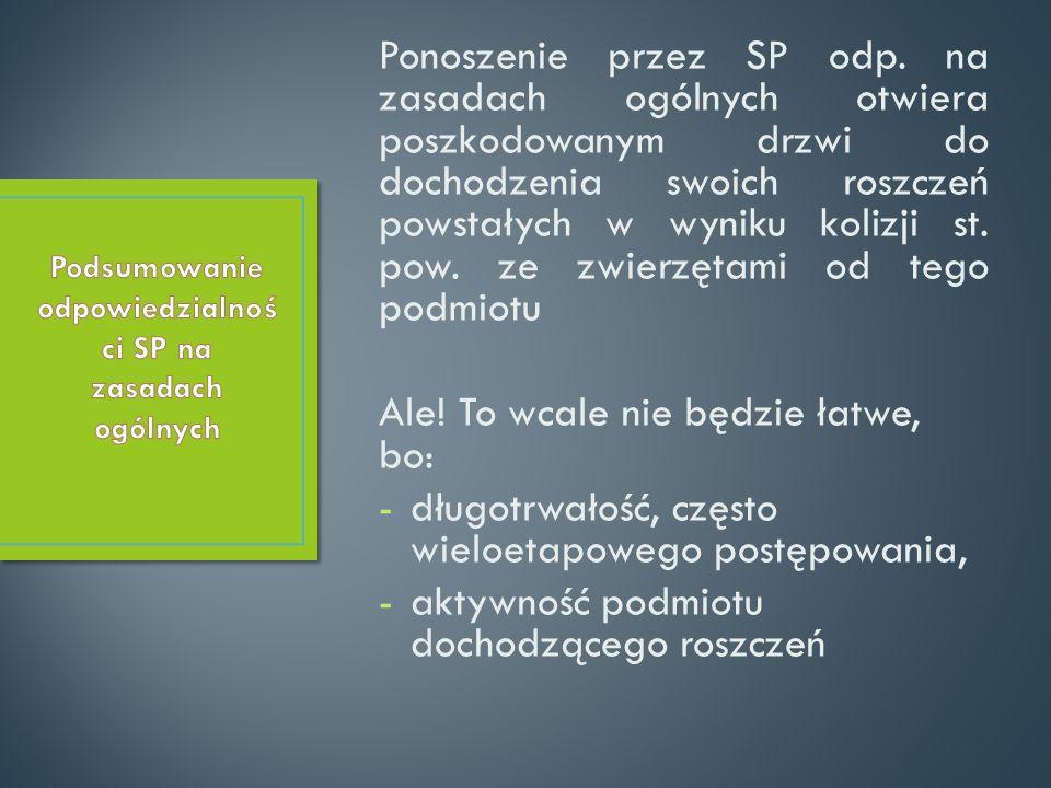 Ponoszenie przez SP odp. na zasadach ogólnych otwiera poszkodowanym drzwi do dochodzenia swoich roszczeń powstałych w wyniku kolizji st. pow. ze zwier
