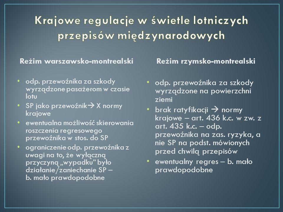 Reżim warszawsko-montrealski odp. przewoźnika za szkody wyrządzone pasażerom w czasie lotu SP jako przewoźnik X normy krajowe ewentualna możliwość ski