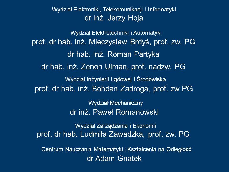 Wydział Elektroniki, Telekomunikacji i Informatyki dr inż. Jerzy Hoja Wydział Chemiczny prof. dr hab. inż. Mieczysław Brdyś, prof. zw. PG dr hab. inż.