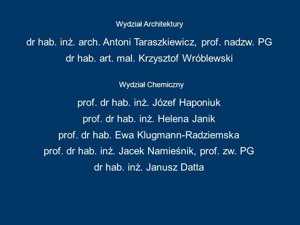 Wydział Architektury Wydział Chemiczny dr hab. inż. arch. Antoni Taraszkiewicz, prof. nadzw. PG dr hab. art. mal. Krzysztof Wróblewski prof. dr hab. i